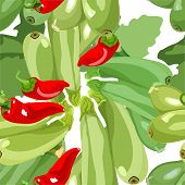 seamless wallpaper for holiday packages featuring vegetable ripe zucchini hot peppers poster