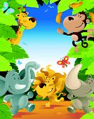 illustration of a Fun Jungle Border with lots of animals enjoying a fun party poster