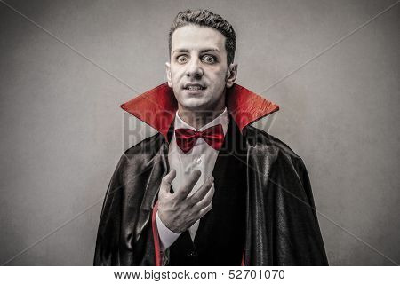 man dressed up as Dracula for the halloween party