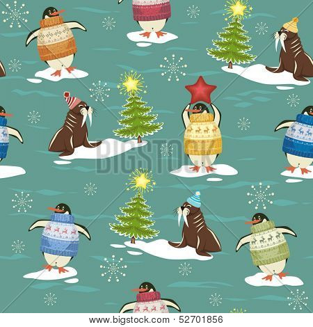 Seamless pattern with funny penguins in sweater on ice-floes and walruses rest upon ice-floes with Christmas tree