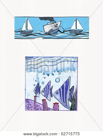 Watercolor Illustrations Of Sea Themes