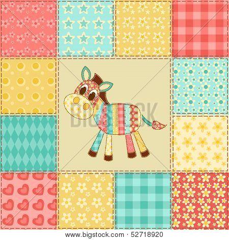 Zebra. Vintage patchwork seamless pattern. Vector background. poster