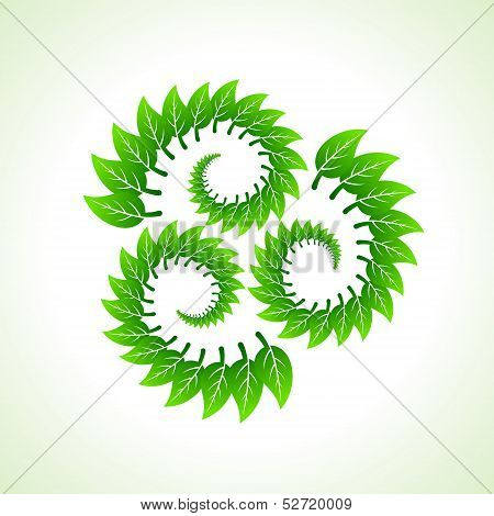 Green leaves make recycle icon stock vector