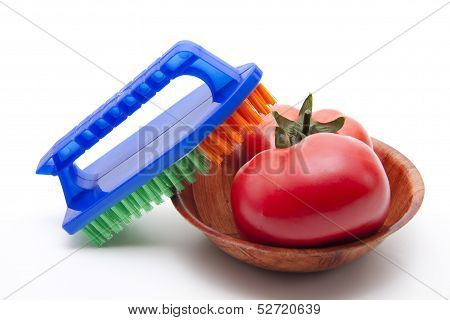 Tomato with household brush