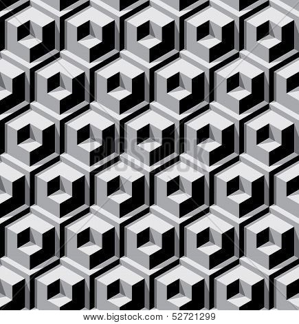seamless background with dimensional contrast color cubes poster