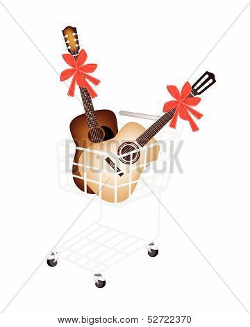 Two Guitar With Red Ribbon In Shopping Cart