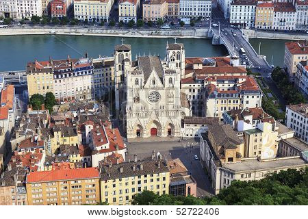 View Of Lyon With Saint Jean Cathedral
