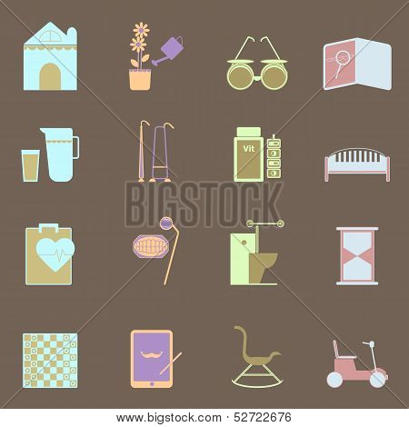 Elderly Related Colorful Icons Set