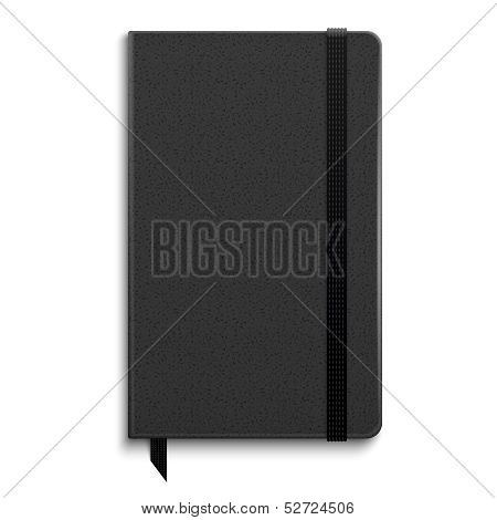 Black copybook with elastic band.