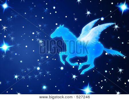Pegasus Flying In Night