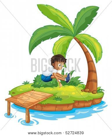 Illustration of a boy jumping at the island on a white background