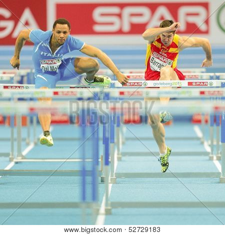 GOTHENBURG, SWEDEN - MARCH 1 Paolo Dal Molin (Italy) wins heat 4 of the qualification of the men's 60m hurdles event during the Athletics Indoor Championship on March 1, 2013 in Gothenburg, Sweden.