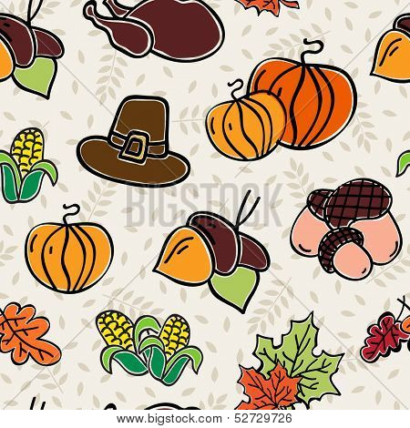 Happy Thanksgiving day seamless pattern background.