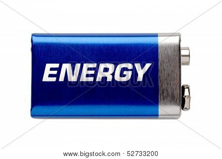 9V battery isolated on white with written word