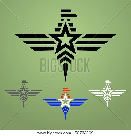 Military style eagle emblem set