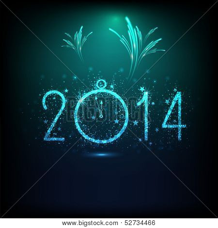 Happy New Year 2014 celebration background with shiny text, clock and fireworks in night background, can be use as flyer, banner or poster.