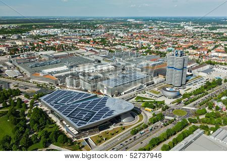 MUNICH, GERMANY - MAY 11: Aerial view of BMW Museum and BWM Welt and factory and Munich from Olympic Tower on May 11, 2012 in Munich, Bavaria, Germany. BMW is a famous German luxury car automaker.