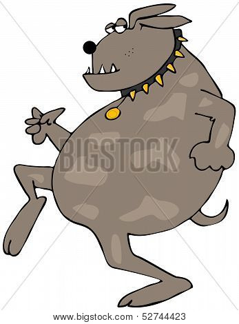 This illustration depicts a cool dog running while looking behind. poster