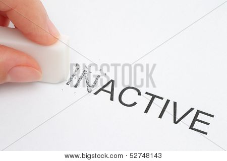 Hand erasing part of the inactive word