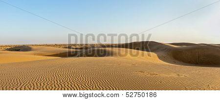 Panorama of dunes in Thar Desert. Sam Sand dunes, Rajasthan, India