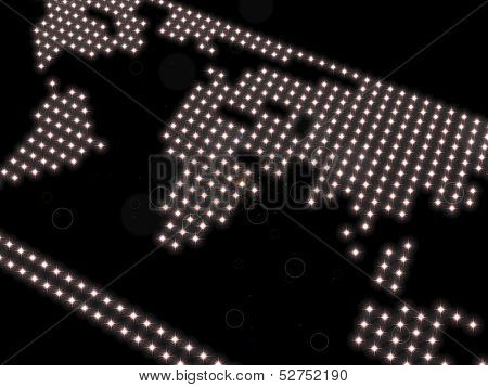 world map, composed of spotlights  on a black background