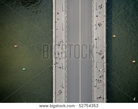 Top view at bridge on the river poster