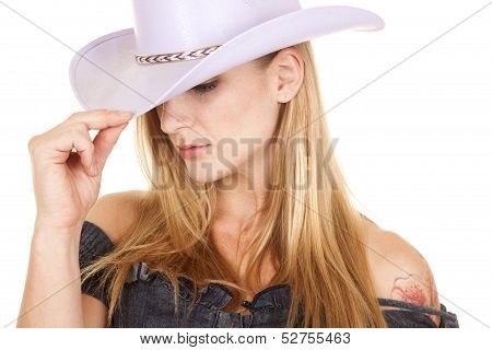 Woman Purple Cowgirl Hat Close Look Down