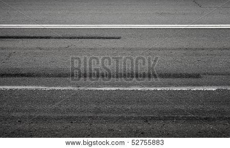 Emergency Braking Tracks On Asphalt Road