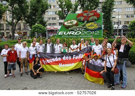 Germany Football Team Supporters Pose For A Group Photo