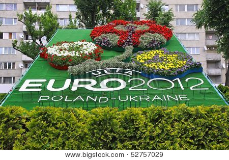 Logo Of Uefa Euro 2012 Tournament Made From Flowers