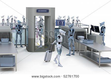 Robots Going Through Security