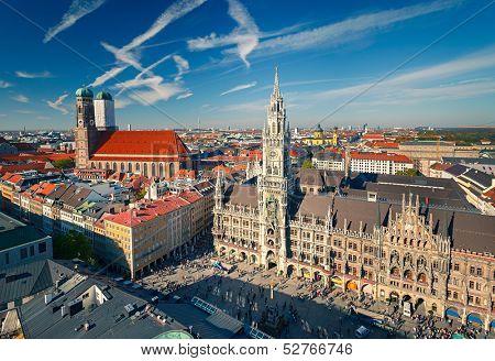 Aerial view of Munchen: Marienplatz, New Town Hall and Frauenkirche poster