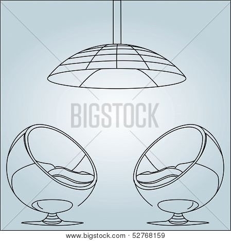 Interior design- egg chair with lighting