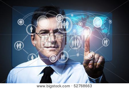 Businessman touching virtual screen. Social media network.