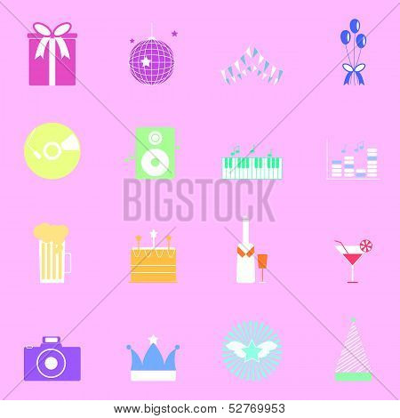 Colorful Party Icons On Pink Background