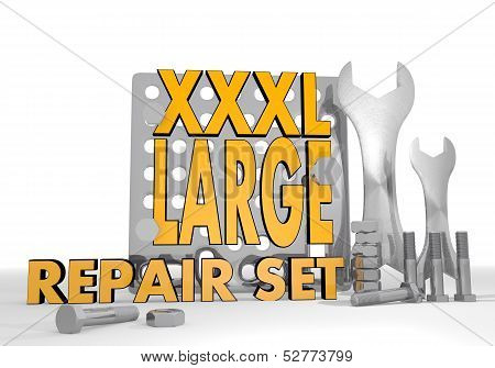 Dark orange large extreme 3d graphic with isolated XL icon repair set poster