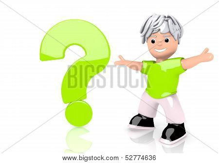 Question Symbol  With Cute Character