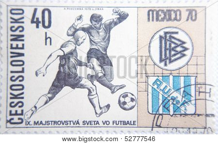CESKOSLOVENSKO - CIRCA 1970: stamp printed by Slovakia shows soccer players on World Championship