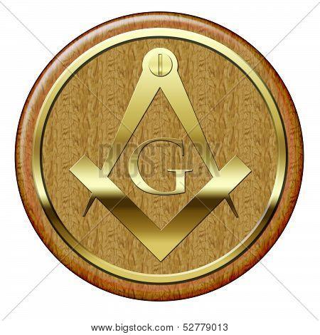 Freemason Golden Metallic Symbol On Wooden Plaque