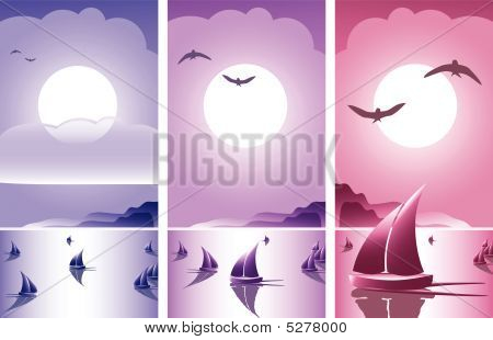 Abstract Romantic Sunset Banner