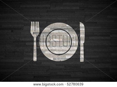 Restaurant Symbol  On Noble Stone Texture