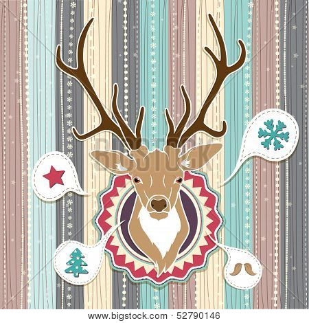 Vintage vector Christmas card with Deer. Cold Pastel colors poster