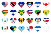 Icons of North America flags. Illustration over white background poster