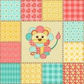 Lion. Vintage patchwork seamless pattern. Vector background. poster