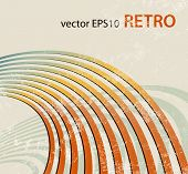 Retro background with curved lines - radio waves - abstract music template poster