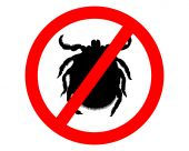 Prohibition sign for ticks on white background poster