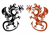 The early viking tattoo in the form a dragon on a white background. poster