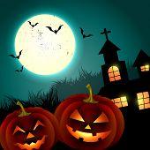 halloween creepy pumpkin design illustration poster