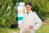 Portrait of confident female beekeeper with hand on hip standing at apiary poster