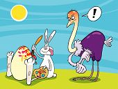cartoon vector illustration of bunny painting egg and angry ostrich poster